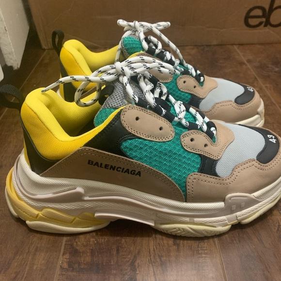 Triple S Sneakers Green Yellow Size 43